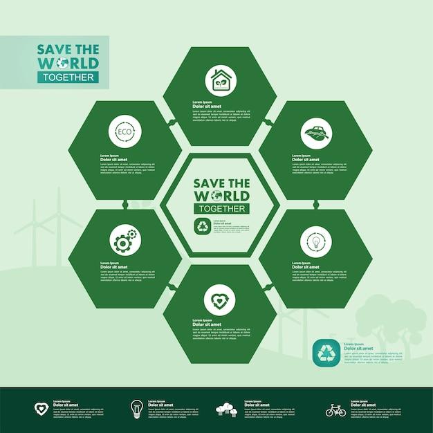 Red de wereld samen groene ecologie infographic Premium Vector