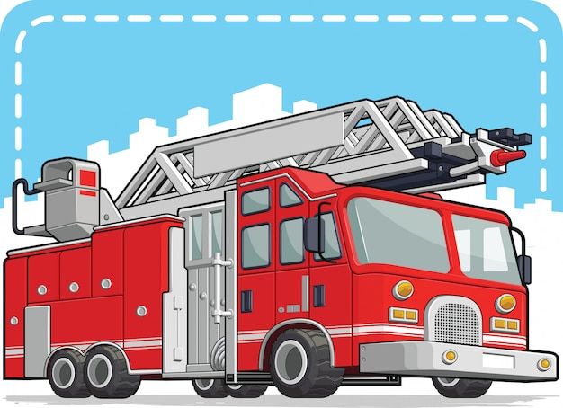 Red fire truck of fire engine Premium Vector