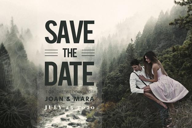 Red het date-paar met een geweldig landschap Gratis Vector