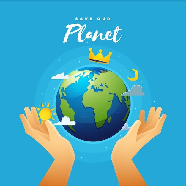 Red het planeetconcept met handen en kroon Gratis Vector