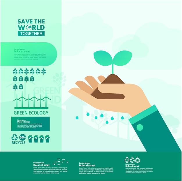 Red samen de wereld groene ecologie. Premium Vector