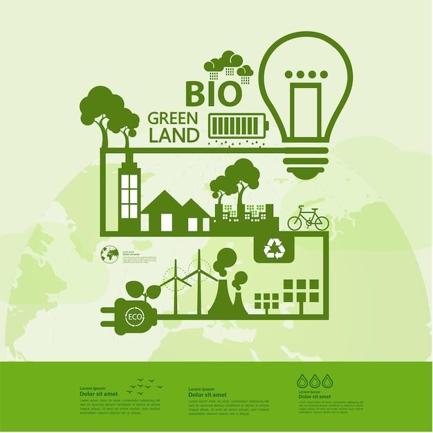 Red samen de wereld groene ecologie Premium Vector