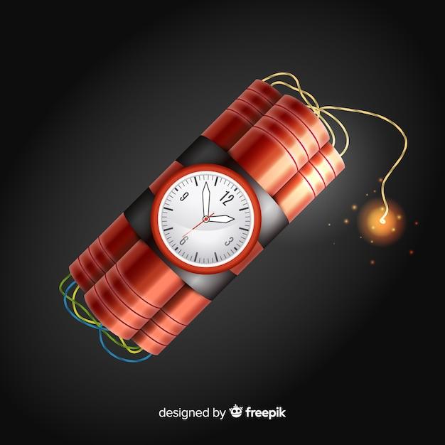 Red time bomb realistisch ontwerp Gratis Vector