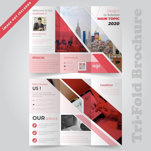 Red zakelijk tri vouw brochure template Premium Vector