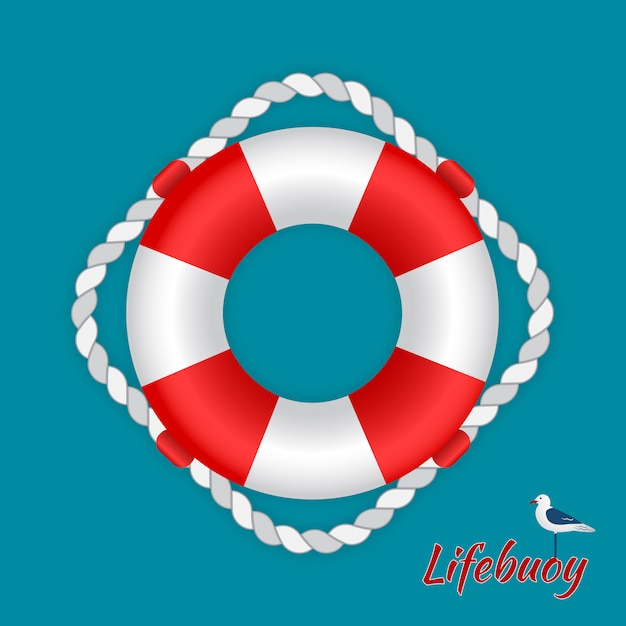 Reddingsboei met een zeemeeuw Premium Vector