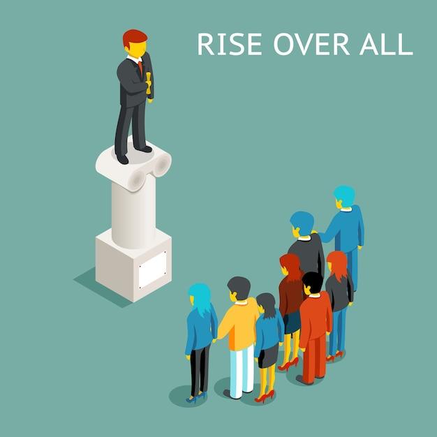 Redenaar openbare toespraak. vlakke isometrische conferentie of presentatie, spreker en leider staan boven alles, presentator op kolom. Gratis Vector