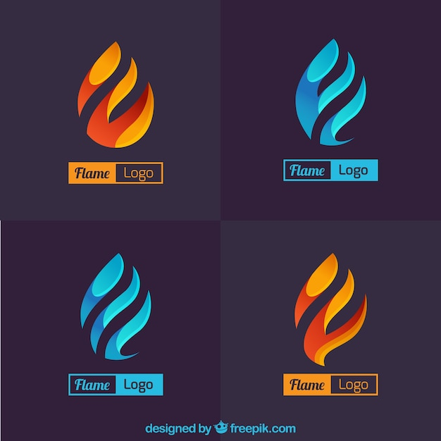 Reeks abstracte vlam logo Gratis Vector