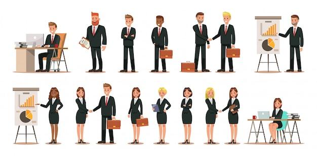 Reeks bedrijfskarakters die in bureau werken Premium Vector