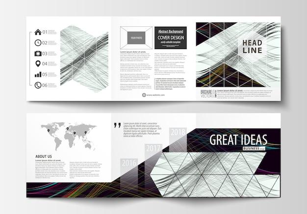 Reeks bedrijfsmalplaatjes voor drievoudige vierkante brochures. Premium Vector
