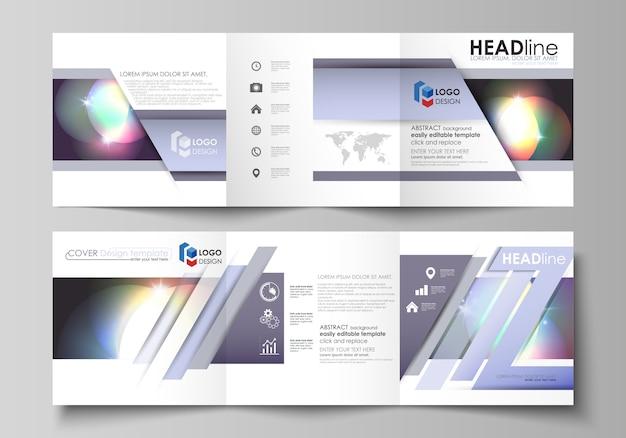 Reeks bedrijfsmalplaatjes voor drievoudige vierkante brochures Premium Vector