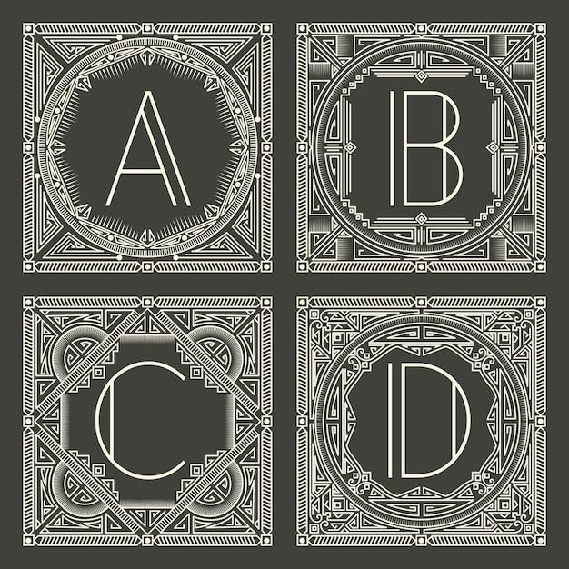 Reeks bloemen en geometrische monogramemblemen met hoofdletter op donkergrijze achtergrond. Gratis Vector