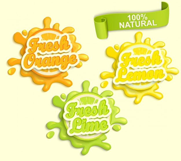 Reeks citroen, oranje, lime juece etiketten splash. Premium Vector