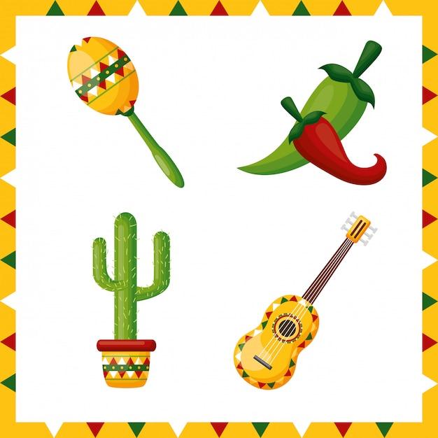 Reeks de cultuurpictogrammen van mexico, illustratie Gratis Vector