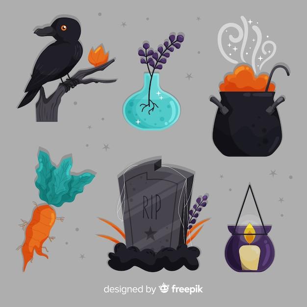 Reeks decoratieve elementen van halloween op grijze achtergrond Gratis Vector