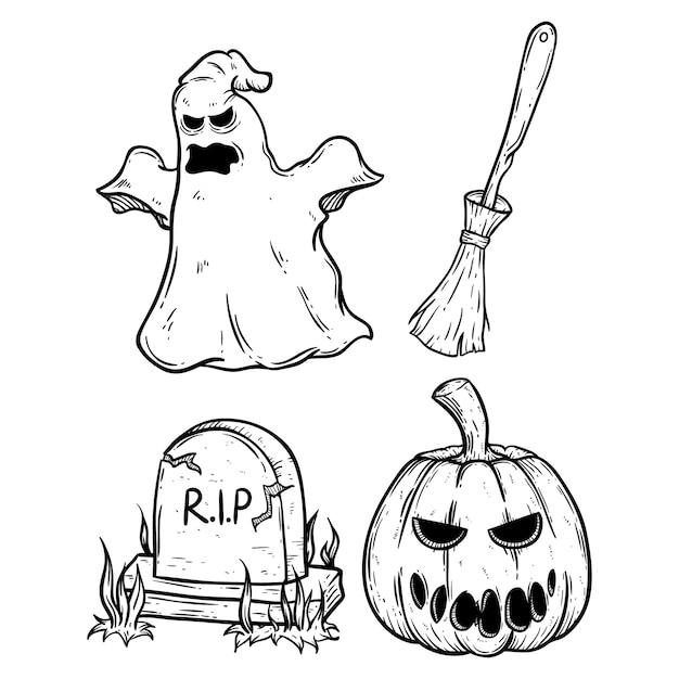 Halloween Gebruiken.Reeks Enge Halloween Pictogrammen Die Krabbelkunst Of De