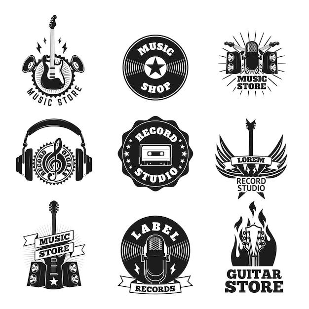 Reeks etiketten van de muziekwinkel Premium Vector