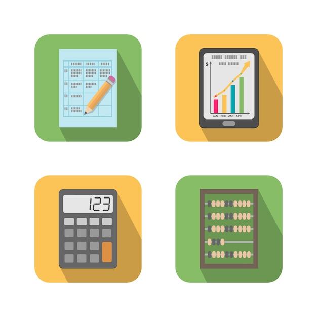 Reeks financiële bedrijfshulpmiddelenpictogrammen Gratis Vector
