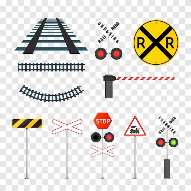 Reeks gedetailleerde spoorwegwaarschuwingsborden die op wit worden geïsoleerd. Premium Vector