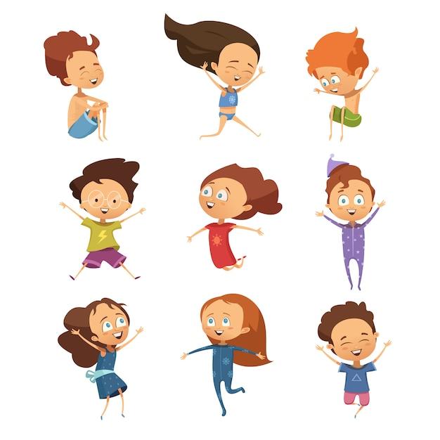Reeks geïsoleerde leuke beeldverhaalbeelden van grappige springende kleine jongens en meisjes in retro stijl vlakke vect Gratis Vector