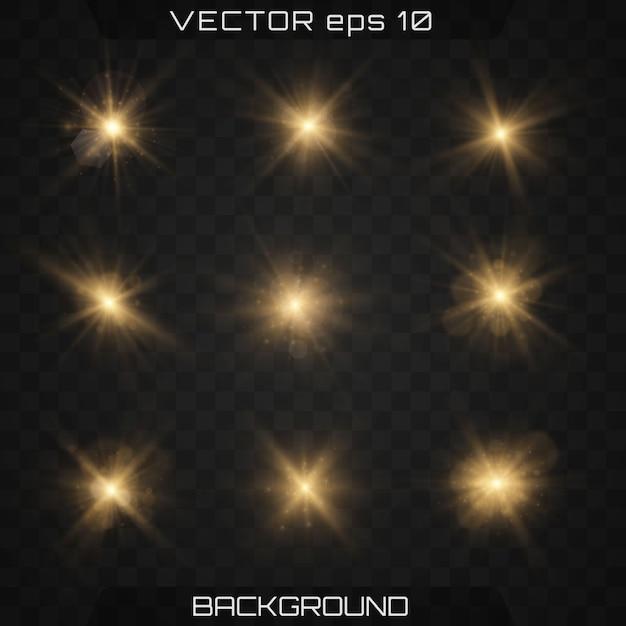 Reeks gouden heldere mooie sterren met gloedeffect Premium Vector