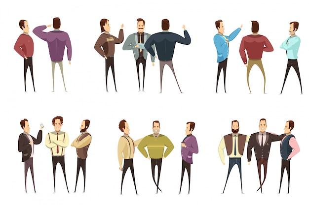 Reeks groepen glimlachende zakenlieden in diverse kleding tijdens geïsoleerde de stijl van het gespreksbeeldverhaal Gratis Vector