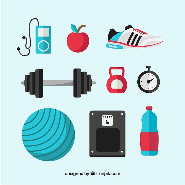 Reeks gymnastiekelementen met oefeningshulpmiddelen Gratis Vector