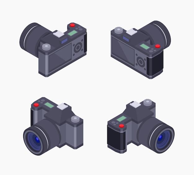 Reeks isometrische digitale fotocamera's Premium Vector