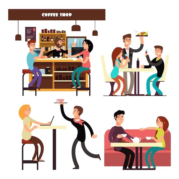 Reeks karakters die op de illustratie van de koffiewinkel drinken Premium Vector