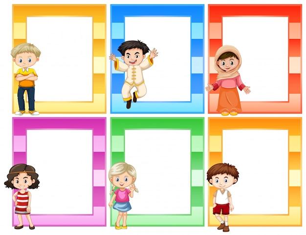 Reeks kinderen naast kadersconcept Premium Vector