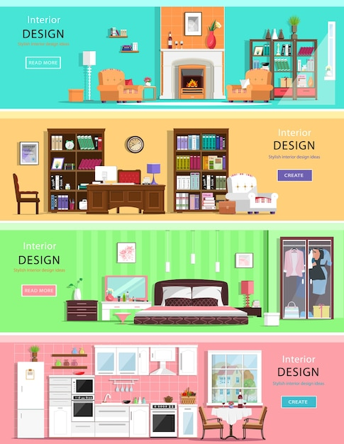 Reeks kleurrijke binnenlandse huiskamers met meubilairpictogrammen: woonkamer, slaapkamer, keuken en bureau aan huis. illustratie. Premium Vector