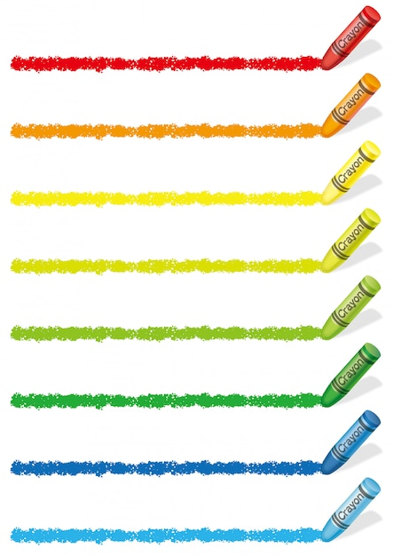 Reeks kleurrijke geïsoleerde elementen van het kleurpotloodontwerp. vector illustratie. Premium Vector