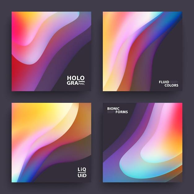 Reeks kleurrijke gradiënt golvende achtergronden Premium Vector