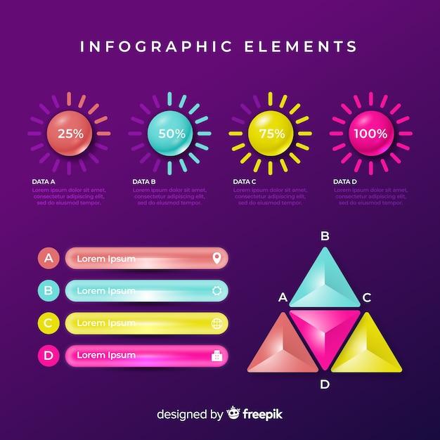 Reeks kleurrijke infographic elementen Gratis Vector