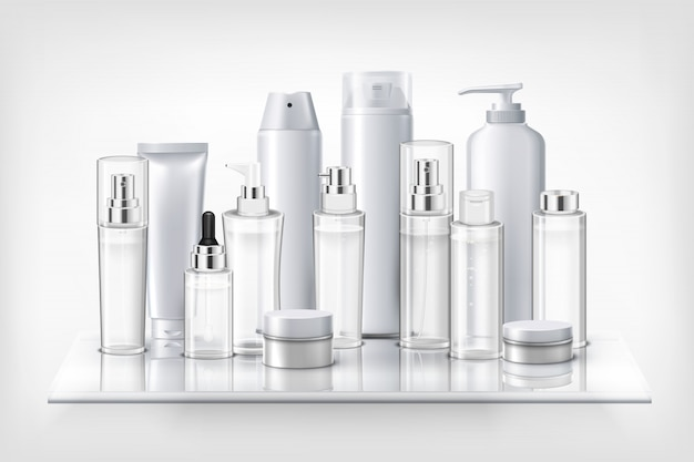Reeks kruiken en flessen van schoonheidsmiddelen plastic flessen op de realistische illustratie van de glasplank Gratis Vector