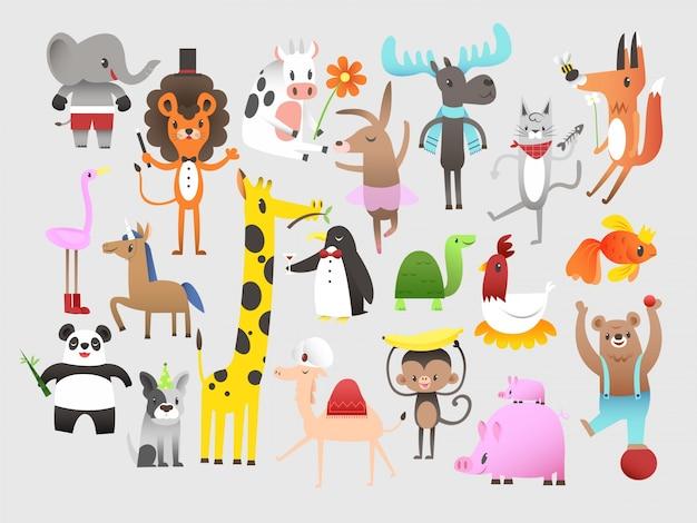 Reeks leuke grappige dieren cartoon Gratis Vector