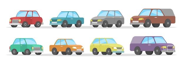Reeks leuke kleurrijke auto's. automobile collectie. geïsoleerde platte vectorillustratie Premium Vector
