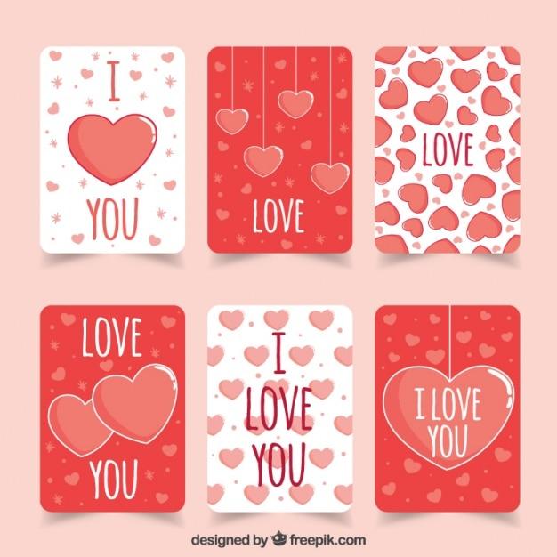Reeks leuke liefde kaarten met hartjes vector gratis download - Cartas de san valentin en ingles ...