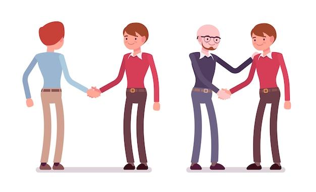 Reeks mannelijke karakters in een vrijetijdskledinghandenschudden Premium Vector