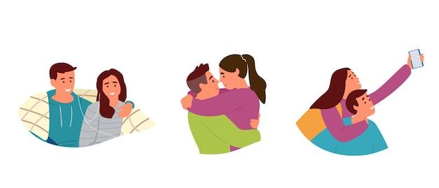 Reeks portretten van jonge verliefde stellen. knuffelen, selfie maken, naar muziek luisteren onder een plaid. geïsoleerd op wit. Premium Vector