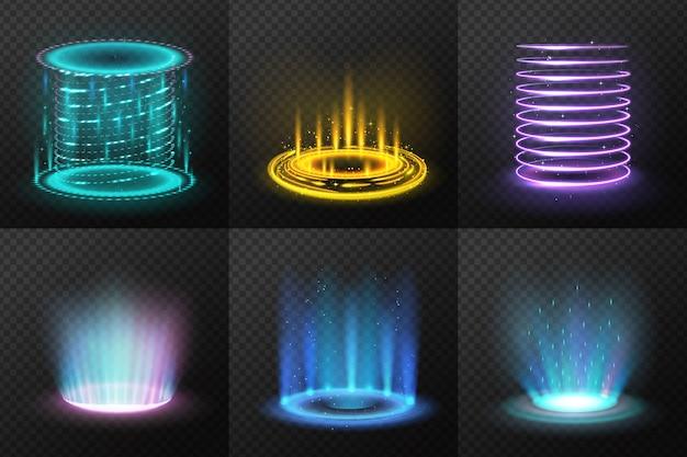 Reeks realistische kleurrijke magische portalen met lichte stromen geïsoleerde illustratie Gratis Vector
