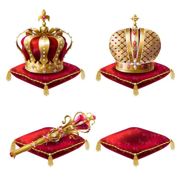 Reeks realistische vectorillustraties, gouden koninklijke pictogrammen, koninklijke scepter en rode fluwelen ceremoniële kussens Gratis Vector