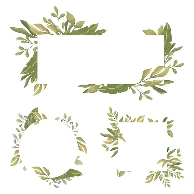 Reeks rechthoekige randen met tekstruimte in het midden. groene bladeren ronde en rechthoekige frames. Premium Vector