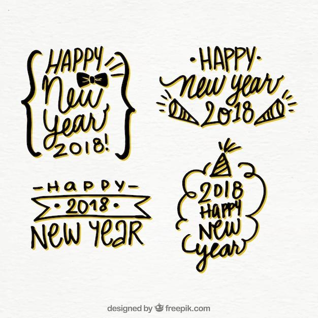 Reeks Stickers Van Hand Getekend Gelukkig Nieuwjaar 2018 Vector