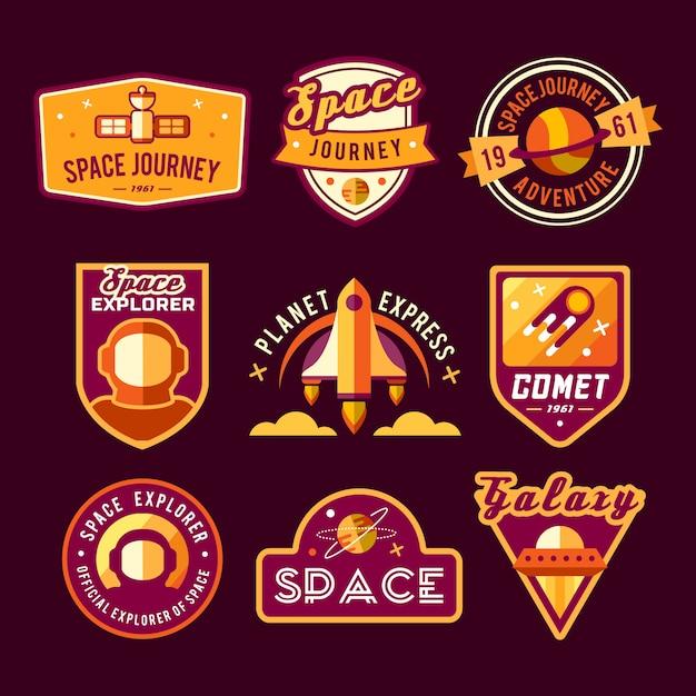 Reeks uitstekende ruimte en astronautkentekens, emblemen, emblemen en etiketten. Gratis Vector