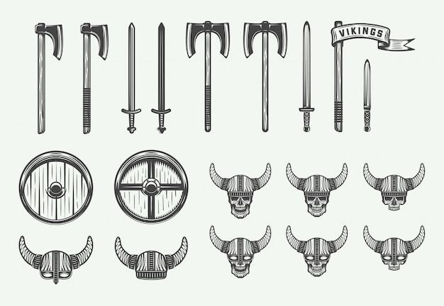 Reeks uitstekende wapens van vikingen Premium Vector