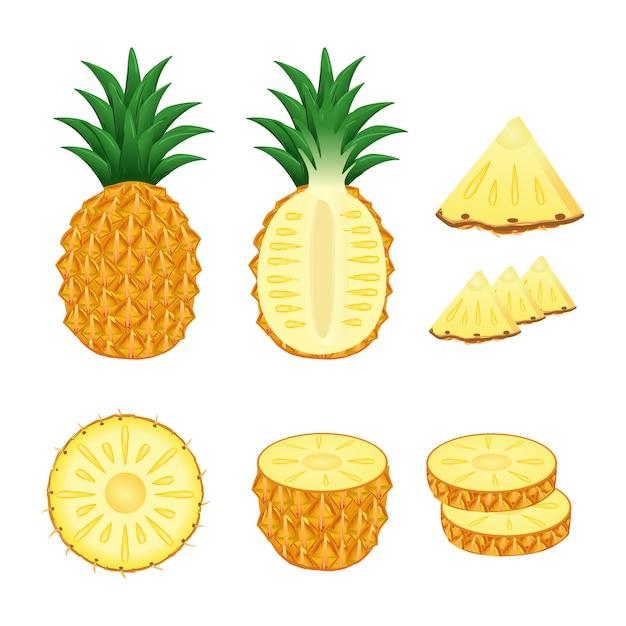 Reeks van ananasgeheel en plakkenillustratievector Premium Vector