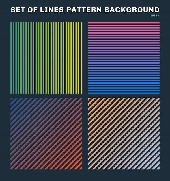 Reeks van de kleurrijke achtergrond en textuur van het lijnenpatroon Premium Vector