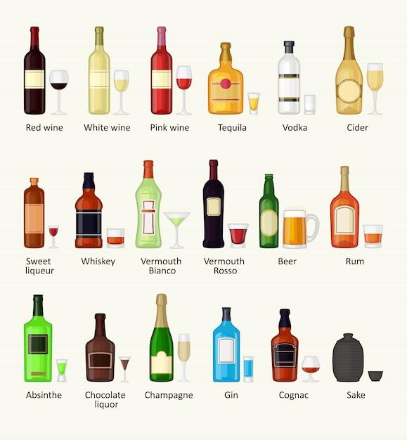 Reeks van de verschillende fles van de alcoholdrank en glazen vectorillustratie. Premium Vector