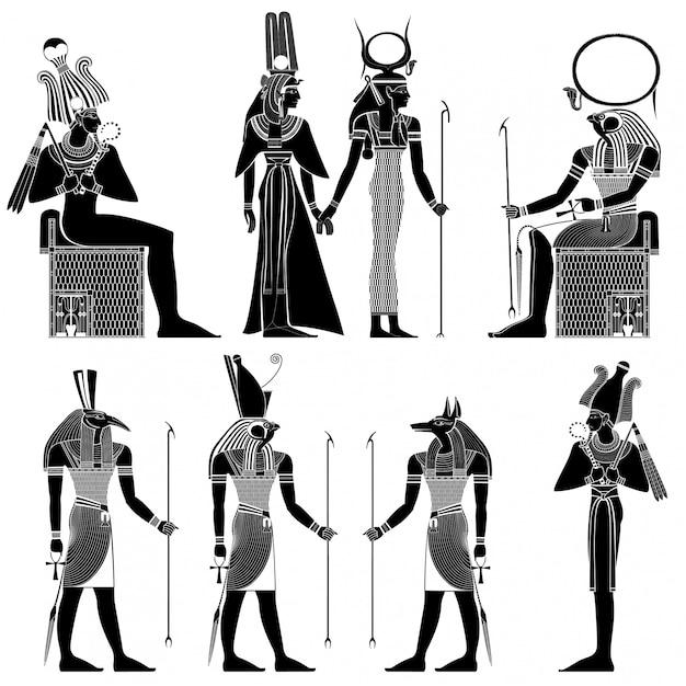 Reeks van egyptisch oud symbool, geïsoleerd cijfer van de oude goden van egypte Premium Vector