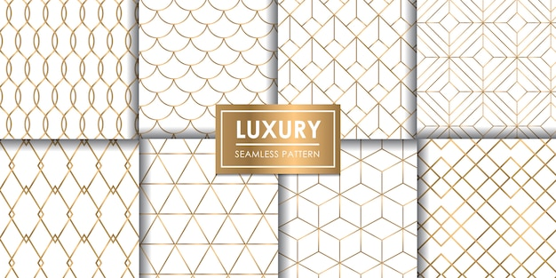 Reeks van het luxe de geometrische naadloze patroon, decoratief behang. Premium Vector